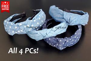 4 PCs Headband, Knotted Bow Headband, Denim Fashion Headband *US SELLER*