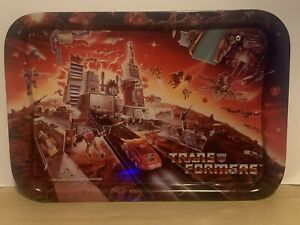 Vintage 1986 Transformers Hasbro Metal Dinner Tray - Depicts Battle On Cybertron