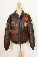 Vintage AVIREX A-2 'Busy Island' Patched Leather USAAF Flight Jacket Large