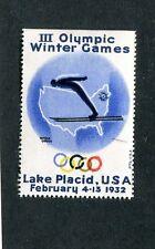 Vintage Poster Stamp Label OLYMPICS WINTER GAMES 1932 Lake Placid skier map