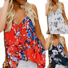 Womens Sleeveless V Neck Button Floral Print Tank Top Loose Casual Shirts Blouse