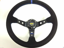 Universal Racing OMP-Style 350mm Suede Deep Dish Steering Wheel Blue Stitching