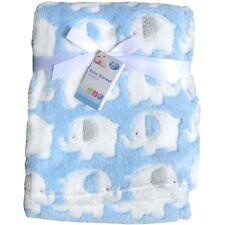 Super Soft & Fluffy Patterned Blanket Newborn Baby Boy - Blue Elephants 75x100cm