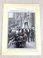 1914 Stampa Originale WW1 La Dame De Delivrance Cathedral Bruxelles Belgio Belga