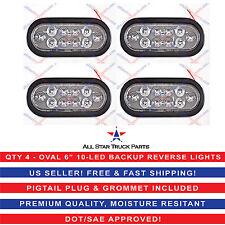 """(4) WHITE 6"""" Oval 10 LED Backup Reverse Tail Light Grommet & Plug Truck Trailer"""