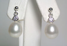 10x11mm AAA quality white freshwater pearl & sterling silver earrings