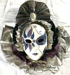 Vintage Mardi Gras Porcelain Ceramic Painted Wall Hanging Face Mask ~12x11