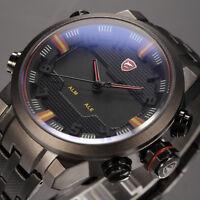 SHARK LED Digital Date Day Alarm Quartz Black Steel Strap Male Sport Wrist Watch