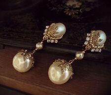Vintage Baroque Pearl & Seed Bead Drop Clip Earrings Miriam Haskell Style