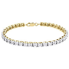 """1 Row Real Diamond Tennis Bracelet Miracle Set Yellow Sterling Silver 7"""" 