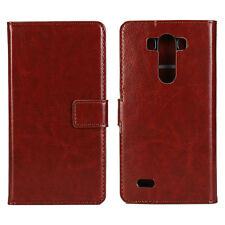 Brown Genuine Leather Wallet Card Cash Case Cover Stand for LG G3
