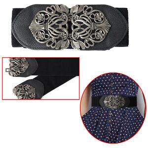 Lady Black Wide Fashion Belt Women Wide Elastic Belts Buckle Waist Dress Stretch