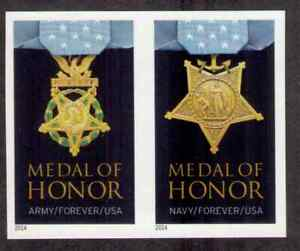 US. 4822a-3a. (Forever) Medal of Honor, Korean War. Pair, Imperforate. MNH. 2014