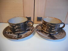 BRIGLIN STUDIO POTTERY BROWN FERN PATTERN 2 CUPS AND SAUCERS