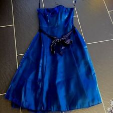DEBENHAMS DEBUT LADIES BLUE PROM PARTY STRAPLESS DRESS BOW SIZE 8 NEW