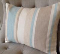 "12x16"" Cushion Cover In Laura Ashley Awning stripe Duck Egg, Austen back"