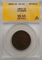 1852 Large Cent 1c Coin ANACS VG 10 Details Cleaned