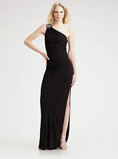 David Meister Navy Ruched & Beaded One Shoulder Jersey Gown Dress. NWT Sz.14