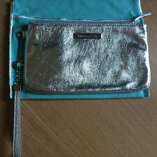 EUC Tiffany & Co Silver leather pouch wristlet clutch cosmetic bag signed strap