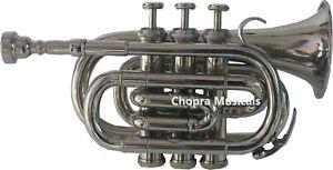 Pocket Trumpet 3V 100% Brass Chopra Make Nickel Plated with Mouth Piece +Case 11