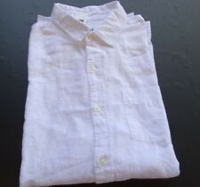 GAP MENS LS SOLID WHITE 100% LINEN DESIGNER CASUAL SHIRT SIZE: XL **NWT**