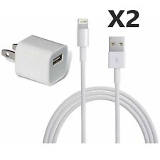 (2) iPhone 5, 6, 7, 8, X Data Sync USB Lighting Cable Cord W/ Free Wall Charger