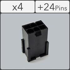 x4 6 pin Male PCI-e GPU Power Connector Socket - Black + 24 Pins