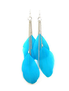 Long swing feather earrings