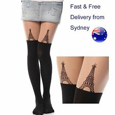 Paris Eiffel tower tattoo tight Love France pantyhose tights French Tour Eiffel