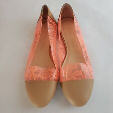 Loeffler Randall Ballet Flat Tan with Orange Lace clear accents 8.5