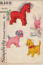Simplicity Vintage 1954 Sewing Pattern, Set of 4 Stuffed Toys, Repro Copy