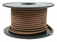 Brown Cloth Covered Cord, 2 Conductor Round Antique Style - 100 ft. Spool