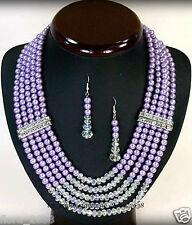 PARURE collier boucles d'oreille perle de culture violet, bijoux fantaisie neuf