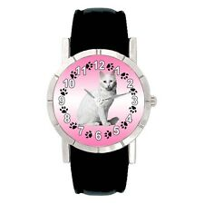 Turkish Angora Kitten Cat Mens Ladies Water Resistant Quartz Wrist Watch SA2738