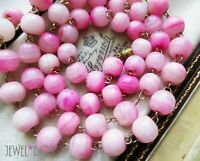 VINTAGE MARBLED VIVID PINK GLASS BEADS LONGER ROLLED GOLD WIRED NECKLACE GIFT