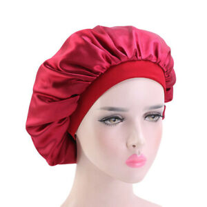 Ladies's Satin Night Sleep Cap Hair Bonnet Hair Silk Cover Wide Elastic Turban