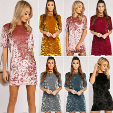 Women Crushed Velvet Casual Tunic Tops Shirts Loose Long Party Blouse Mini Dress