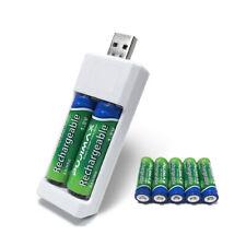 Chargeur de piles batterie AA AAA avec port USB à 2 emplacements