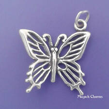BUTTERFLY Charm .925 Sterling Silver Garden Insect 3-D Pendant - lp2734