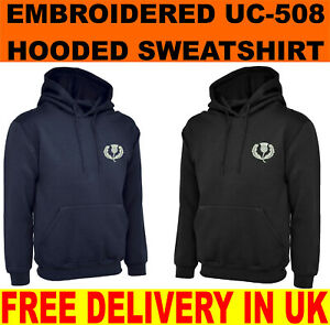 Retro Scotland Rugby Embroidered Hooded Sweatshirt, High Quality Workwear Top