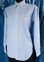 Ralph Lauren Pre-Loved Women's Shirt Size 4 Long Sleeve Blue Oxford Type