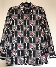 Givenchy For Chesa Vintage Size16  Dark Blue White Red Long Sleeve Satin Blouse