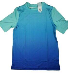 Cat & Jack Boy's Ombre Blue Short Sleeve Rash Guard Size XL 16 Husky