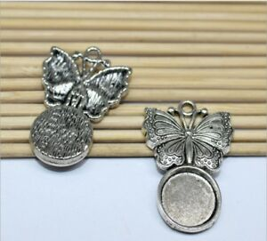 6pcs Base Setting Trays ,Butterfly Necklace Pendant , Fit 12mm Round Cabochon