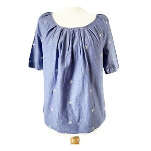 Next UK 8 Blouse Top Indian Cotton Blue White Embroidered Tie Back Loose Boho