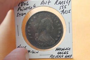 1806  POINTED 6 STEM  AU+  HERALDIC EAGLE REVERSE HALF DOLLAR