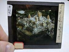 Colored Glass Magic Lantern Slide AIG Cambodia Angkor Buddhist Bayon From AIR