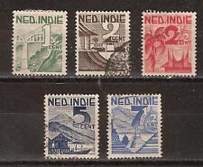 Nederlands Indie Netherlands Indies 317 - 321 used voorstellingen 1946