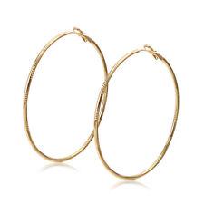 Vintage earings yellow gold filled womens big round hoop earrings statement Lot