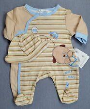 New Rumble Tumble Preemie Baby Boy 2Pc Beep Beep Dog Footed Sleep N Play W/Hat
